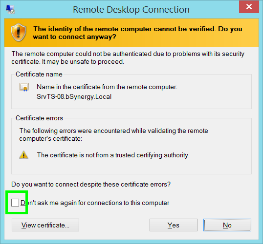 """You will see this box pop up. Click the checkbox for """"Don't ask me again for connections to this computer."""" Then click Yes.  When your connection goes through, locate """"Fusion"""" on your desktop. Double-click to open Fusion and type in your Fusion username and password."""